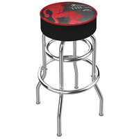 Holland Bar Stool L7C130FIREBALL-B Fireball Whiskey Black Design Double Ring Bar Height Swivel Bar Stool with 4 inch Padded Vinyl Seat