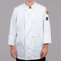 Chef Revival Bronze J050-S Size 36 (S) Customizable Double Breasted Chef Coat with Knot Cloth Buttons - Poly-Cotton Blend
