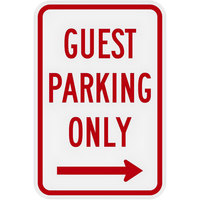 Lavex Industrial Guest Parking Only Right Arrow Non-Reflective Red Aluminum Sign - 12 inch x 18 inch