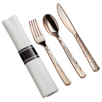Gold Visions 18 inch x 15 1/2 inch Pre-Rolled Linen-Feel White Napkin and Hammersmith Heavy Weight Rose Gold Plastic Cutlery Set - 100/Case