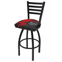 Holland Bar Stool L01430FIREBALL-B Fireball Whiskey Black Design Bar Height Swivel Stool with Ladder Back and Black Padded Vinyl Seat