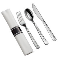 Silver Visions 18 inch x 15 1/2 inch Pre-Rolled Linen-Feel White Napkin and Hammersmith Heavy Weight Silver Plastic Cutlery Set - 100/Case