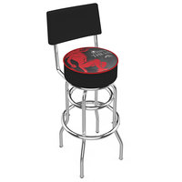 Holland Bar Stool L7C430FIREBALL-B Fireball Whiskey Black Design Double Ring Swivel Bar Stool with 4 inch Padded Vinyl Seat and Backrest