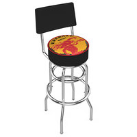 Holland Bar Stool L7C430FIREBALL-Y Fireball Whiskey Yellow Design Double Ring Swivel Bar Stool with 4 inch Padded Vinyl Seat and Backrest