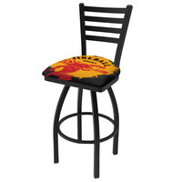 Holland Bar Stool L01430FIREBALL-Y Fireball Whiskey Yellow Design Bar Height Swivel Stool with Ladder Back and Black Padded Vinyl Seat