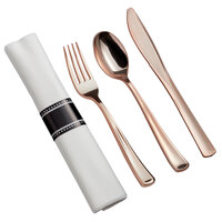 Gold Visions 18 inch x 15 1/2 inch Pre-Rolled Linen-Feel White Napkin and Classic Heavy Weight Rose Gold Plastic Cutlery Set - 100/Case