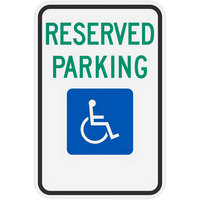 Lavex Industrial Handicapped Reserved Parking Diamond Grade Reflective Green / Black Aluminum Sign - 12 inch x 18 inch
