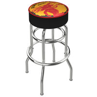 Holland Bar Stool L7C130FIREBALL-Y Fireball Whiskey Yellow Design Double Ring Swivel Bar Stool with 4 inch Padded Vinyl Seat