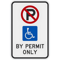 Lavex Industrial Handicapped Parking by Permit Only Diamond Grade Reflective Black Aluminum Sign - 12 inch x 18 inch