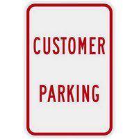 Lavex Industrial Customer Parking Non-Reflective Red Aluminum Sign - 12 inch x 18 inch