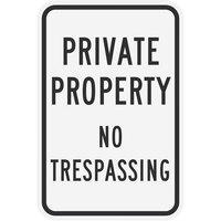 Lavex Industrial Private Property / No Trespassing Non-Reflective Black Aluminum Sign - 12 inch x 18 inch