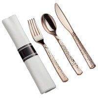 Gold Visions 18 inch x 15 1/2 inch Pre-Rolled Linen-Feel White Napkin and Hammersmith Heavy Weight Rose Gold Plastic Cutlery Set - 25/Pack