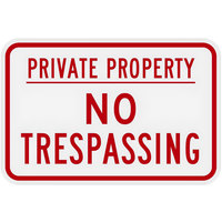 Lavex Industrial Private Property / No Trespassing Engineer Grade Reflective Red Aluminum Sign - 18 inch x 12 inch