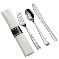 Silver Visions 18 inch x 15 1/2 inch Pre-Rolled Linen-Feel White Napkin and Classic Heavy Weight Silver Plastic Cutlery Set - 25/Pack