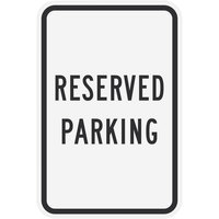 Lavex Industrial Reserved Parking Engineer Grade Reflective Black Aluminum Sign - 12 inch x 18 inch