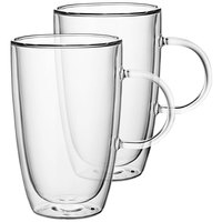 Villeroy & Boch 11-7243-8088 Artesano Barista 15.5 oz. Double Wall Glass Cup with Handle - 2/Set
