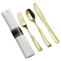 Gold Visions 18 inch x 15 1/2 inch Pre-Rolled Linen-Feel White Napkin and Classic Heavy Weight Gold Plastic Cutlery Set - 25/Pack