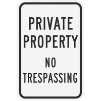Lavex Industrial Private Property / No Trespassing High Intensity Prismatic Reflective Black Aluminum Sign - 12 inch x 18 inch