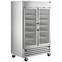 Beverage-Air HBRF49HC-1-A-G Horizon Series 52 inch Stainless Steel Glass Door Dual Temperature Reach-In Refrigerator / Freezer