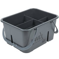 Lavex Janitorial Plastic Cleaning Caddy, 4-Compartment Gray, 11.5L x 9W