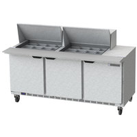Beverage-Air SPE72HC-24M 72 inch 3 Door Mega Top Refrigerated Sandwich Prep Table