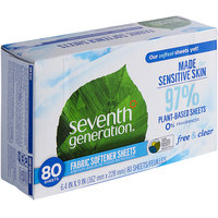 Seventh Generation 22787 Free & Clear 80-Count Natural Fabric Softener Sheets