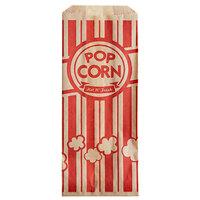 Carnival King 3 1/2 inch x 2 1/4 inch x 8 1/4 inch 1 oz. Kraft Popcorn Bag - 100/Pack