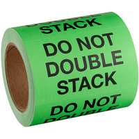 Lavex Industrial 3 inch x 5 inch Do Not Double Stack Matte Paper Permanent Label   - 500/Roll