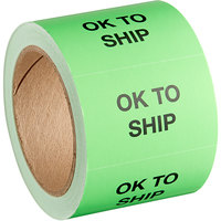 Lavex Industrial 2 inch x 3 inch Ok to Ship Matte Paper Permanent Label - 500/Roll