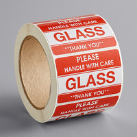 Lavex Industrial 2 inch x 3 inch Please Handle with Care Glass Gloss Paper Permanent Label - 500/Roll