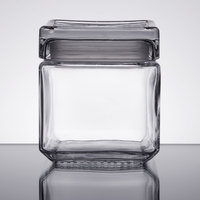 Anchor Hocking 85587R 1 Qt. Clear Stackable Square Glass Jar   - 4/Case