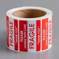 Lavex Industrial 2 inch x 3 inch Please Handle with Care Fragile Gloss Paper Permanent Label   - 500/Roll