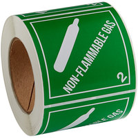 Lavex Industrial 4 inch x 4 inch Non-Flammable Gas Gloss Paper Permanent Label - 500/Roll