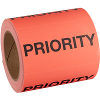 Lavex Industrial 3 inch x 5 inch Priority Matte Paper Permanent Label - 500/Roll