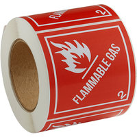 Lavex Industrial 4 inch x 4 inch Flammable Gas Gloss Paper Permanent Label - 500/Roll