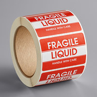 Lavex Industrial 2 inch x 3 inch Fragile Liquid Handle With Care Gloss Paper Permanent Label   - 500/Roll