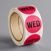 Lavex Industrial 2 inch Wednesday Pink Matte Paper Permanent Inventory Day Label - 500/Roll