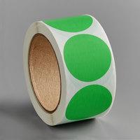 Lavex Industrial 2 inch Fluorescent Green Matte Paper Permanent Round Label - 500/Roll