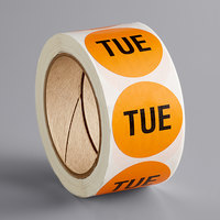 Lavex Industrial 2 inch Tuesday Orange Matte Paper Permanent Inventory Day Label - 500/Roll