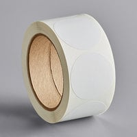 Lavex Industrial 2 inch White Gloss Paper Permanent Round Label   - 500/Roll