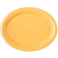 Carlisle 4308022 Durus 13 1/2 inch Honey Yellow Oval Melamine Platter - 12/Case