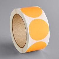 Lavex Industrial 2 inch Fluorescent Orange Matte Paper Permanent Round Label - 500/Roll