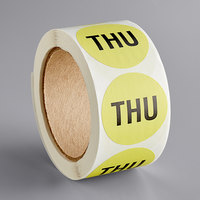 Lavex Industrial 2 inch Thursday Lime Matte Paper Permanent Inventory Day Label - 500/Roll