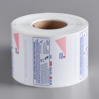 Globe E12 2 1/2 inch x 2 5/16 inch White Safe Handling Pre-Printed Equivalent Permanent Direct Thermal Label - 625/Roll