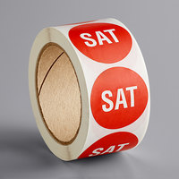 Lavex Industrial 2 inch Saturday Red Matte Paper Permanent Inventory Day Label - 500/Roll