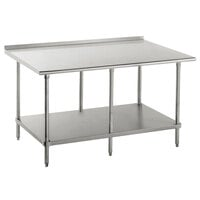 16 Gauge Advance Tabco FAG-248 24 inch x 96 inch Stainless Steel Work Table with 1 1/2 inch Backsplash and Galvanized Undershelf