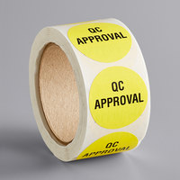 Lavex Industrial 2 inch QC Approval Yellow Matte Paper Permanent Label - 500/Roll
