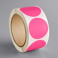 Lavex Industrial 2 inch Fluorescent Pink Matte Paper Permanent Round Label - 500/Roll