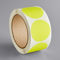 Lavex Industrial 2 inch Fluorescent Yellow Matte Paper Permanent Round Label - 500/Roll