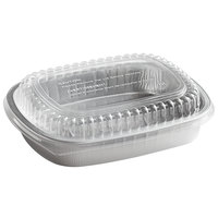 Choice 47.4 oz. Smoothwall Silver Medium Foil Entree / Take-Out Pan with Dome Lid - 50/Case